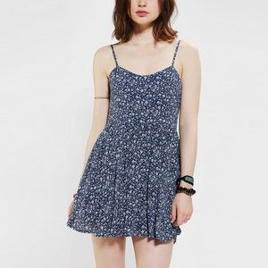UO Blue Lucca Couture Floral Babydoll Dress